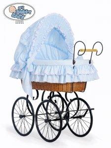 Kosz Mojżesza Retro Victoria - Naturalny + niebieska pościel z białą haftowaną koronką