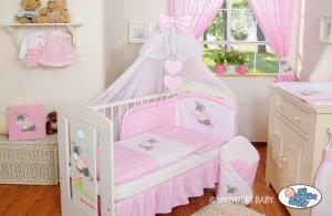 Pościel 5-cz z moskitierą- Osiołek Lucek różowy