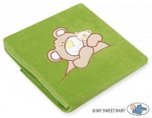 Kocyk polarowy- Miś Barnaba zielony
