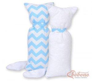 Kot przytulanka dwustronna - Simple zygzaki niebieskie