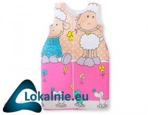 Śpiworek niemowlęcy- Basic owieczki różowo-beżowe