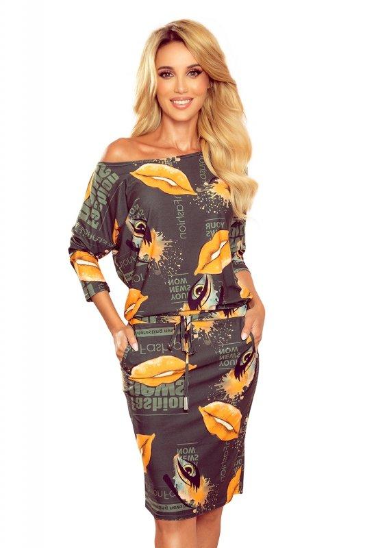 dzianinowa sukienka ze ściągaczem w pasie i kieszeniami