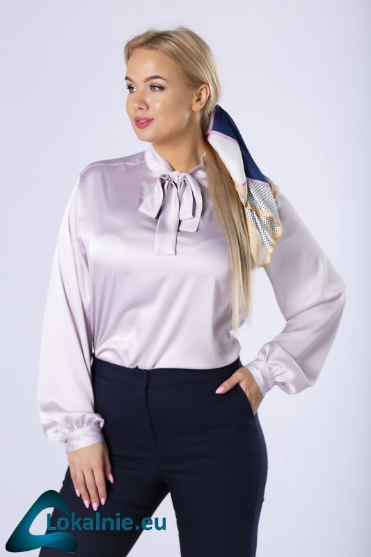 satynowa koszula z wiązaniem przy szyi