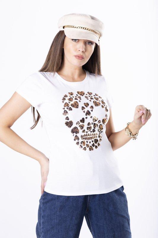 bawełniany t-shirt z cekinową aplikacją