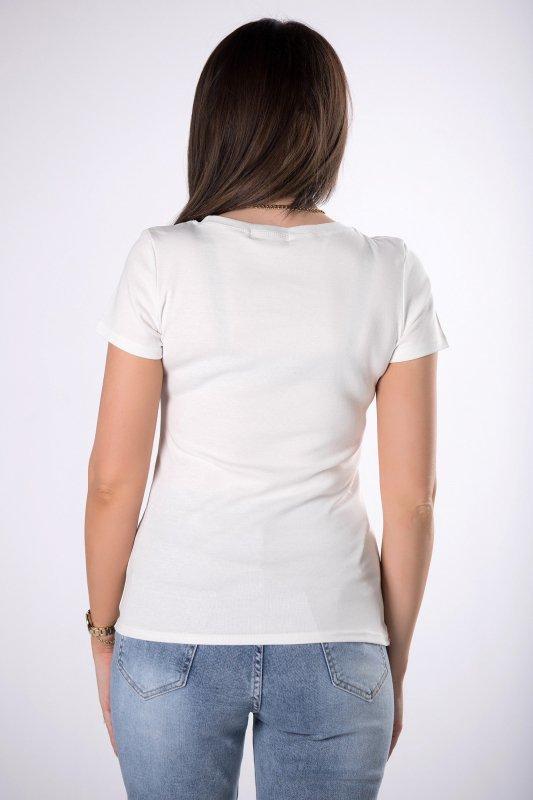 t-shirt z aplikacją z dżetów