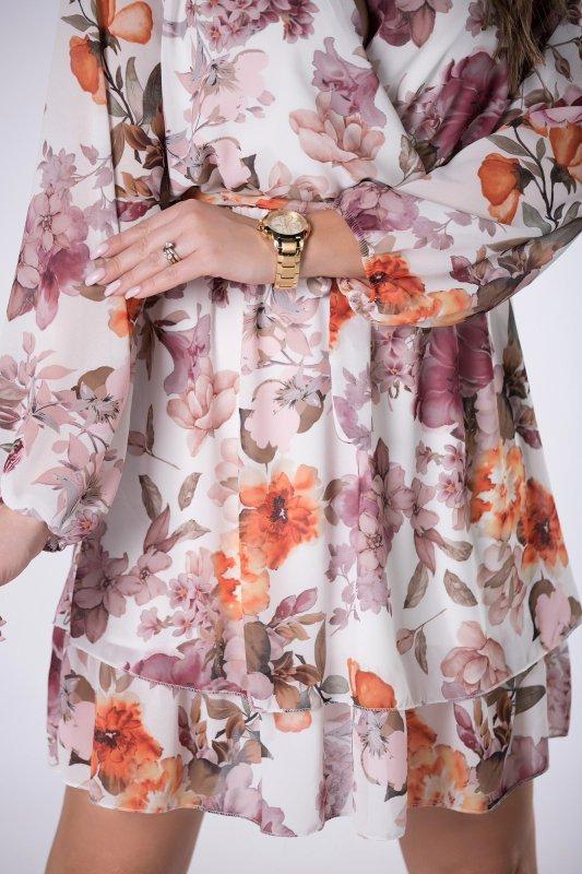 kopertowa sukienka w kwiaty