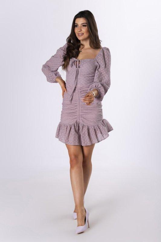 ażurowa sukienka ze ściągaczem