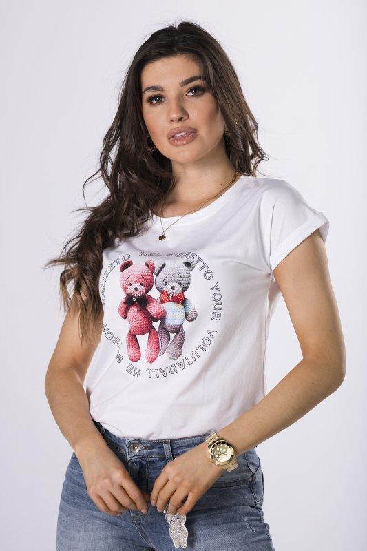 t-shirt z nadrukiem i kokardkami