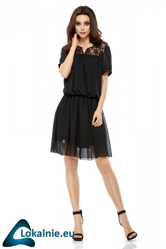 Letnia szyfonowa sukienka z krótkim rękawem L241