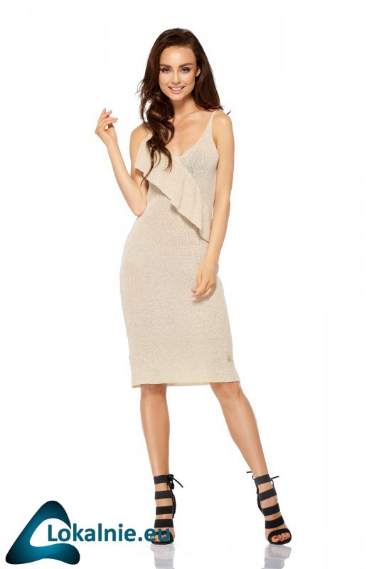 Sukienka sweterkowa na ramiączkach z falbaną LSG102