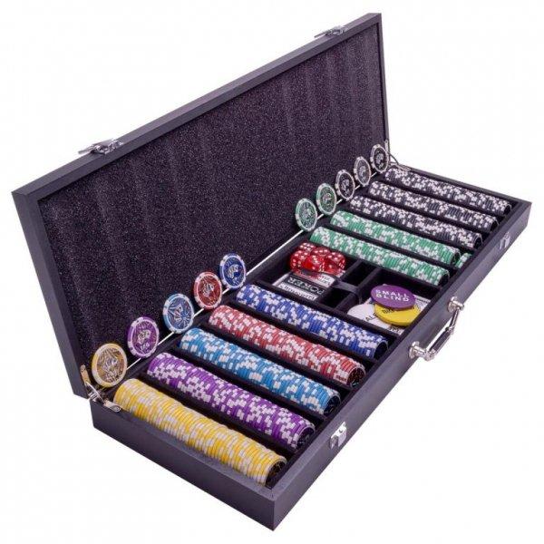 Pokerowa walizka - 500 żetonów do pokera - Wooden Black Ed