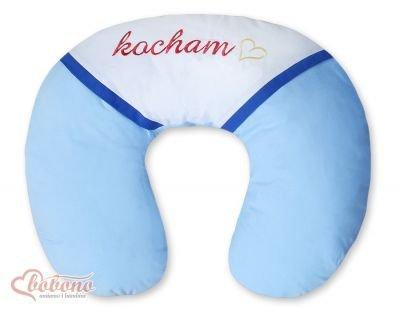 Poduszka rogal- Fasolka do karmeinia- Kocham niebiesko-granatowe haft (PL)