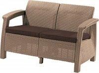 Meble ogrodowe sofa 2-osobowa CORFU piasek/brąz