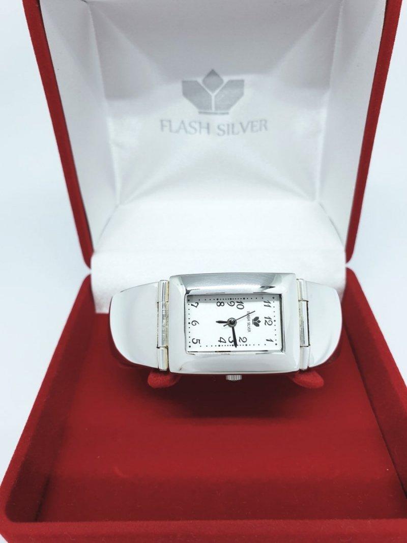 Srebrny zegarek damski prostokąt