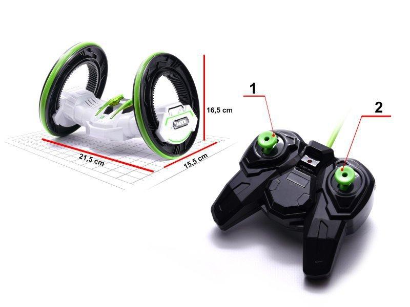 Samochód RC 2 Rounds Stunt 360° 2,4GHz zielono-biały