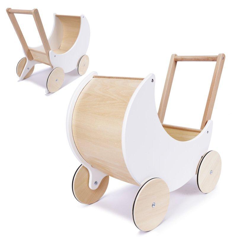 Wózek dla lalek spacerówka gondola drewniany pchacz biały