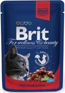 Brit Premium Cat 100g Wołowina Groszek sasz