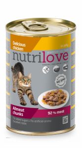 Nutrilove Cat Mięsne kawałki z kurczakiem 400g