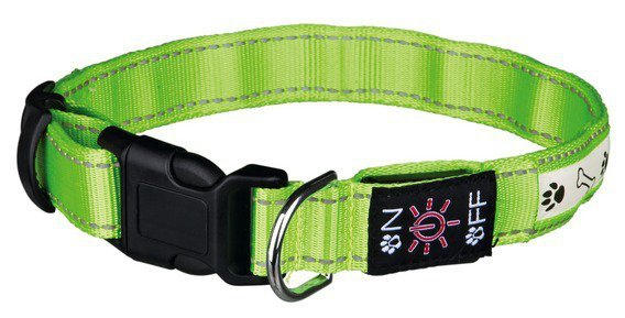 Trixie Obroża z lampą błyskową USB S-M zielo