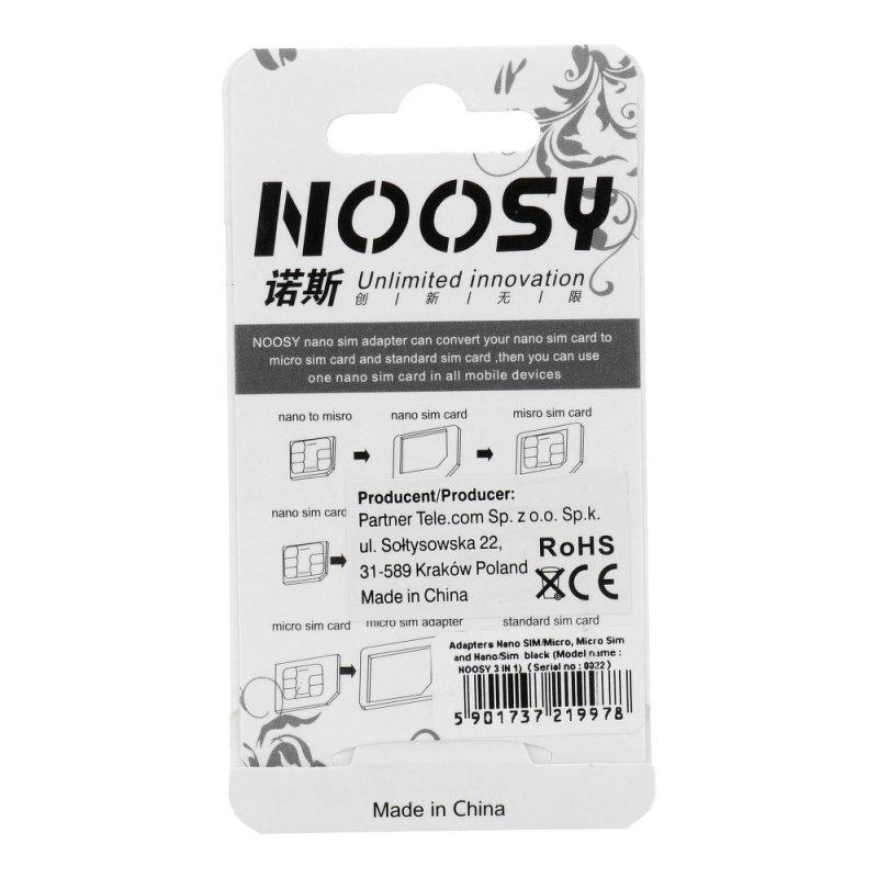 Zestaw Adapterów Nano Sim/Micro,Micro Sim i Nano/Sim (NOOSY 3w1) czarny