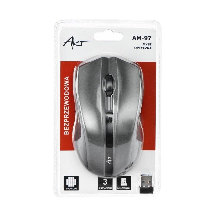 Mysz / Myszka  ART  bezprzewodowa-optyczna USB AM-97 srebrna