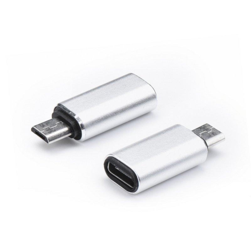 Adapter ładowarki Typ C - Micro USB srebrny
