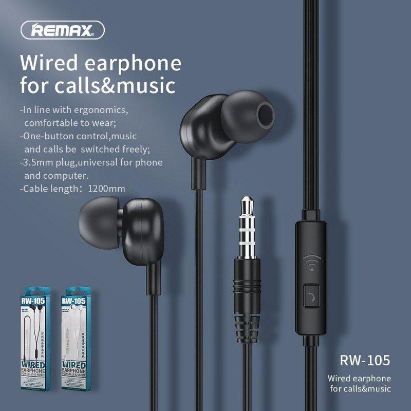 REMAX zestaw słuchawkowy / słuchawki RW-105 czarny