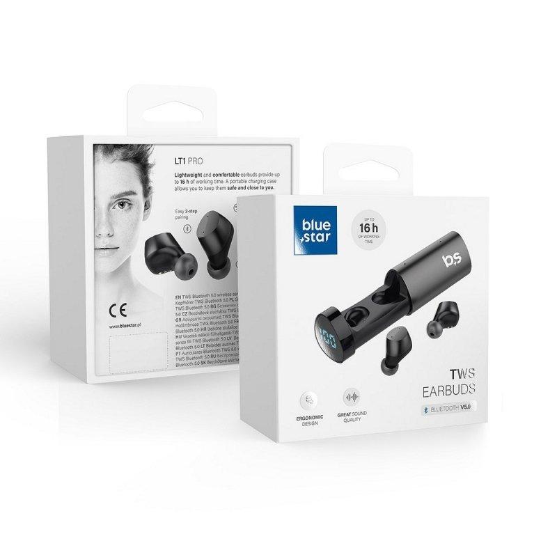 Słuchawki Bluetooth stereo Blue Star TWS LT1 PRO czarne + stacja dokująca