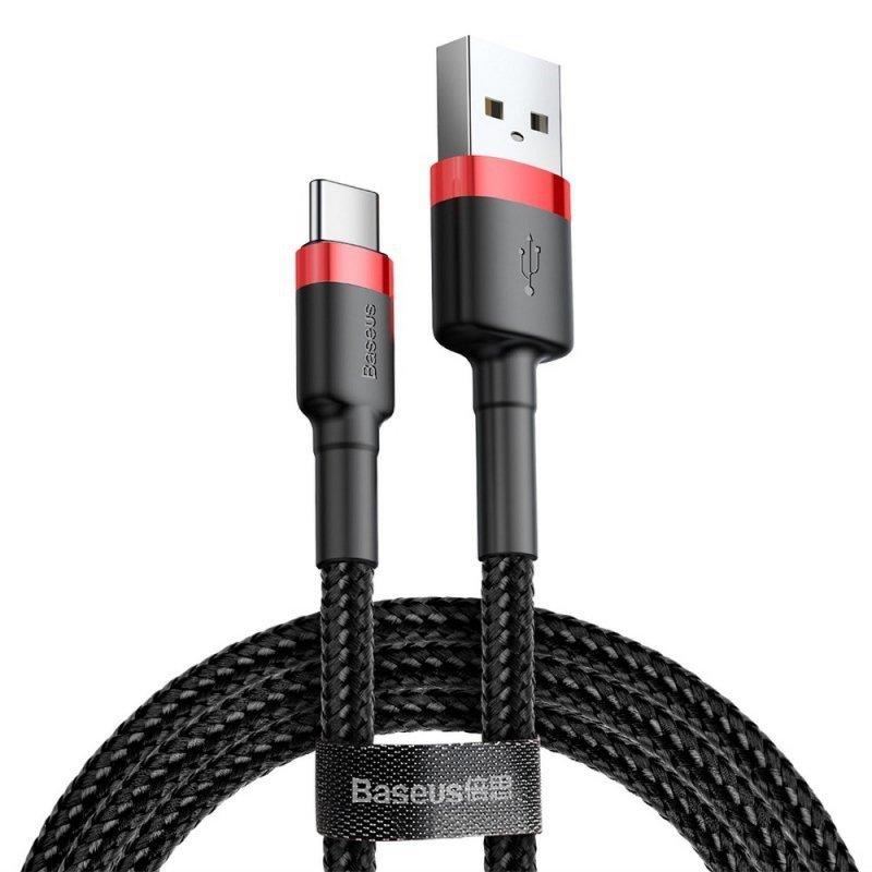 BASEUS kabel USB Cafule Typ C 2A 2 metry czerwono-czarny CATKLF-C91