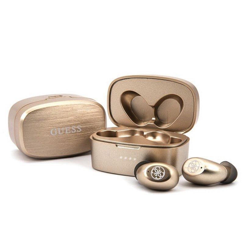 Słuchawki Bluetooth Stereo TWS GUESS V5.0 4H MUSIC TIME + stacja dokująca złoty ( GUTWSJL4GGO )