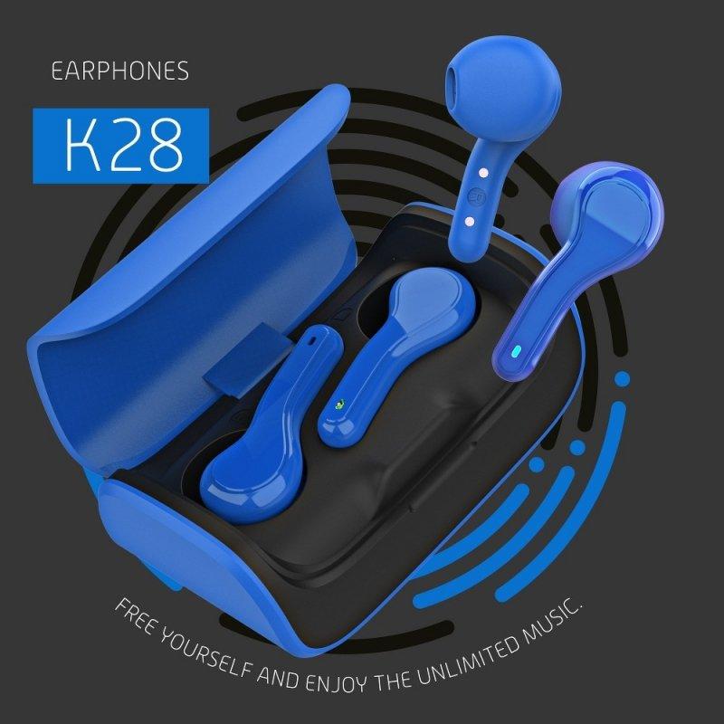 Słuchawki Bluetooth Stereo TWS K28 + stacja dokująca niebieski