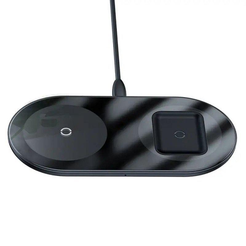 BASEUS ładowarka indukcyjna Simple 2w1 15W Qi czarna WXJK-01.