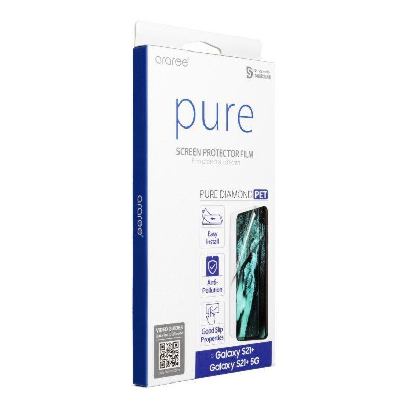 Folia hybrydowa ARAREE Pure Diamond do SAMSUNG S21 PLUS transparent- działający czytnik
