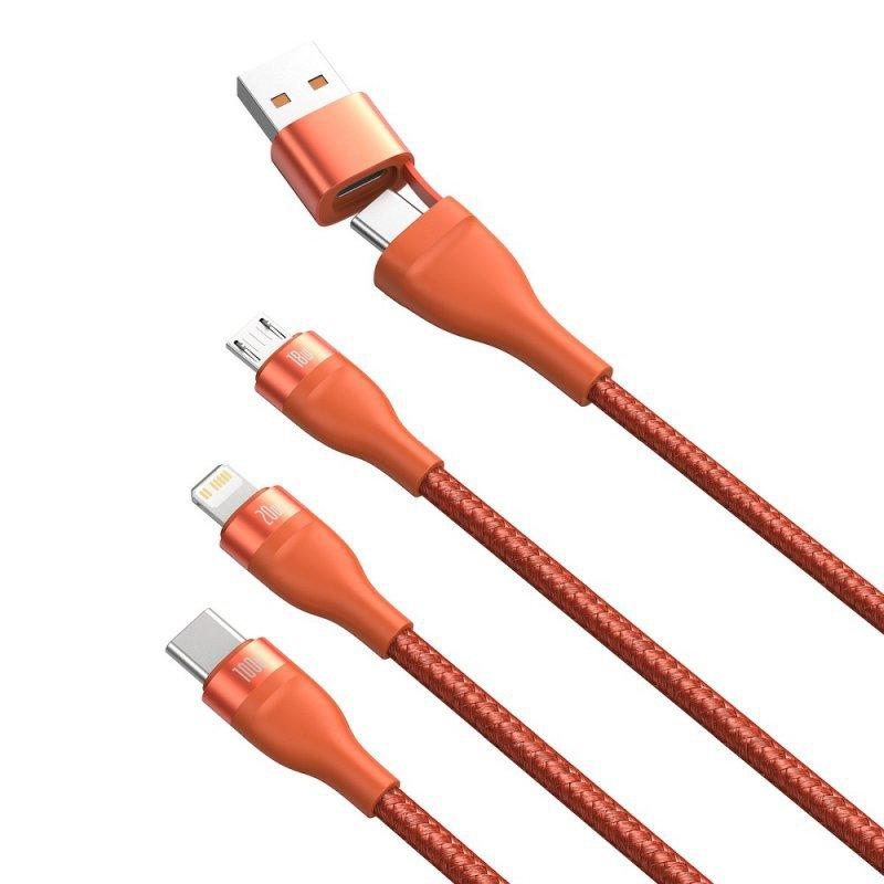 BASEUS kabel USB / Typ C 4w1 Typ C to Micro + Lightning 8-pin + Typ C 100W PD Qi pomarańczowy CA2T3-07