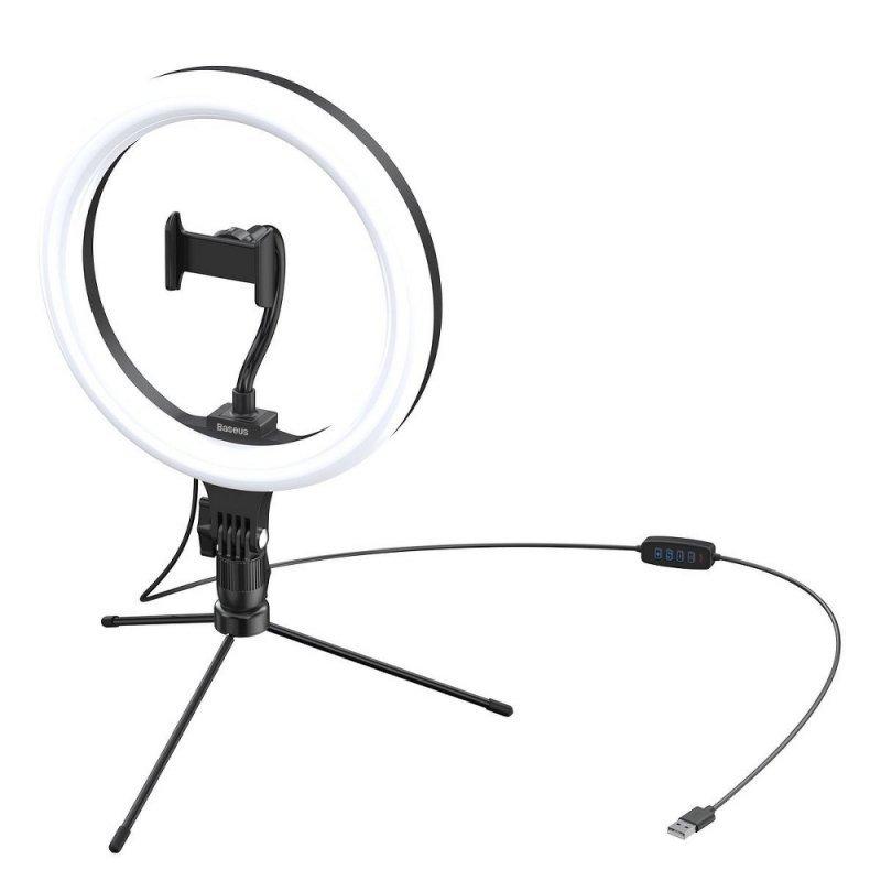 BASEUS lampa biurkowa LED RING Live Stream 10 cali czarna CRZB10-A01