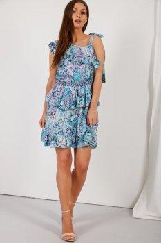 Sukienka z falbaną wiązana na jedno ramię wzór LG546