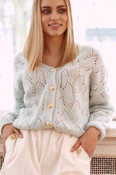 Ażurowy sweter damski zapinany na złote guziki miętowy S112