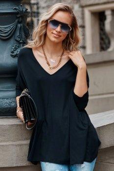 Asymetryczna bluzka damska onesize czarna M704