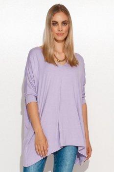 Asymetryczna bluzka damska onesize liliowa M704