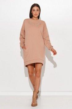 Sukienka dresowa z imitacją łańcuszka cappuccino NU378