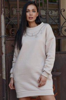Sukienka dresowa z imitacją łańcuszka jasny beż NU378