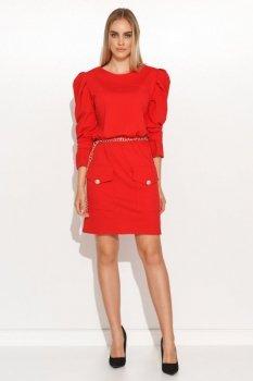 Sukienka mini z bufiastymi rękawami czerwona M687