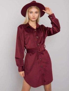 Sukienka-DHJ-SK-10333.12P-bordowy