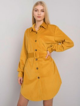 Sukienka-DHJ-SK-10333.12P-ciemny żółty
