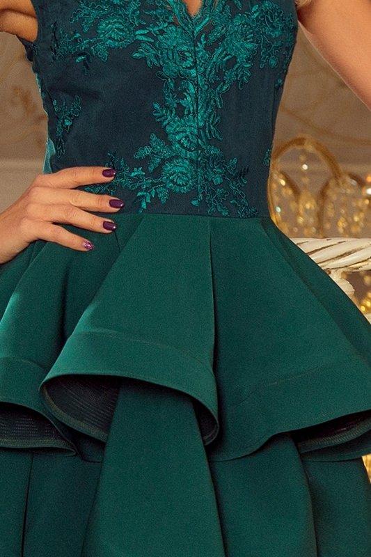 200-6 CHARLOTTE - ekskluzywna sukienka z koronkowym dekoltem - ZIELONA