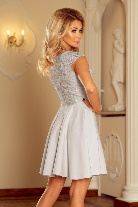 157-6 Sukienka MARTA z koronką - JASNY SZARY