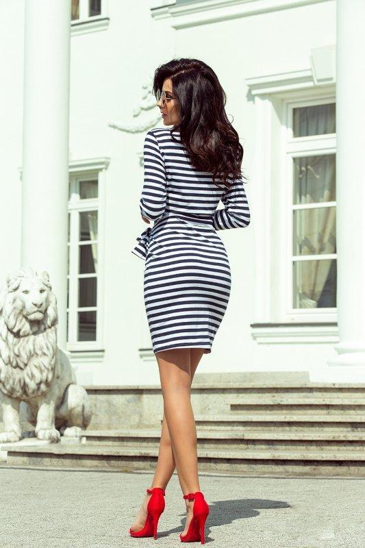 209-1 Sukienka z szerokim wiązanym PASKIEM - granatowo białe pasy