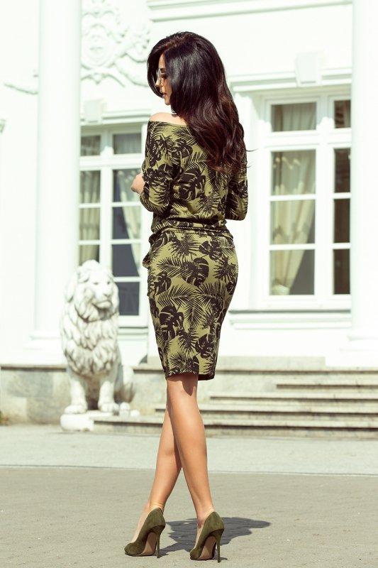 13-85 Sukienka sportowa - okrągłe LIŚCIE + KHAKI