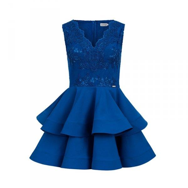 200-7 CHARLOTTE - ekskluzywna sukienka z koronkowym dekoltem - CHABROWA