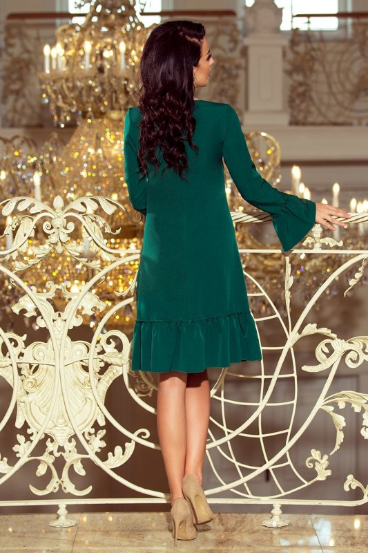 226-1 PARI Sukienka z falbankami - ZIELEŃ BUTELKOWA